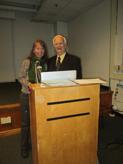Julia with David Greer, benefactor of the TJ Lyons collection, April 2016, Massachusetts College of Art & Design