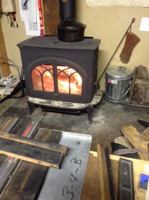 printing in front of the woodstove