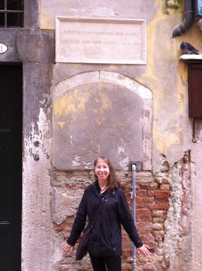Julia Ferrari near Building which housed Aldus Manutius's print shop
