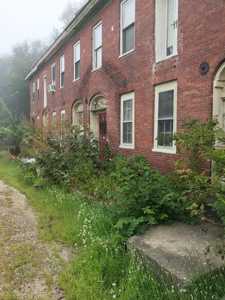 the front steps to Golgonooza Letter Foundry and Press on an overcast summer day