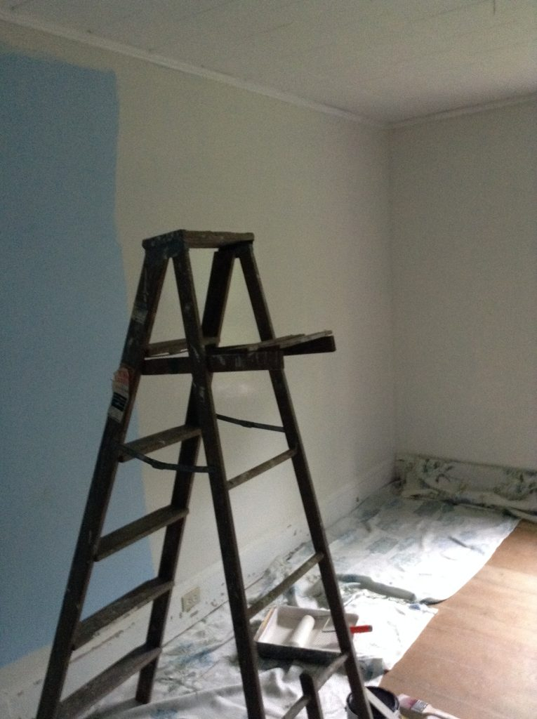painting walls in the East studio